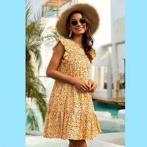 Dresses & Skirts - Yellow Floral Print  Ruffle Sleeve Dress